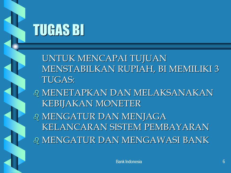 Bank Indonesia7 TUGAS PENETAPAN DAN PELAKSANAAN KEBIJAKAN MONETER b BI menetapkan sasaran inflasi dengan memperhatikan perkembangan dan prospek ekonmi makro, terutama perkembangan harga b Untuk mencapai sasaran inflasi tsb, bi menetapkan besaran-besaran moneter atau likuiditas perekonomian b Pengendalian moneter menggunakan instrumen kebijakan moneter
