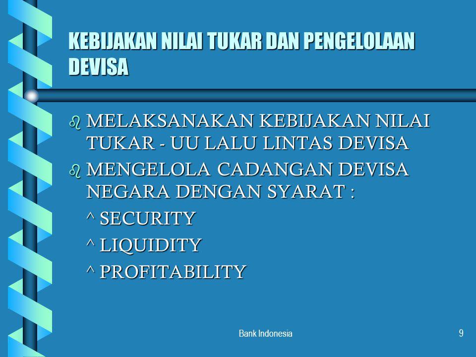 Bank Indonesia9 KEBIJAKAN NILAI TUKAR DAN PENGELOLAAN DEVISA b MELAKSANAKAN KEBIJAKAN NILAI TUKAR - UU LALU LINTAS DEVISA b MENGELOLA CADANGAN DEVISA