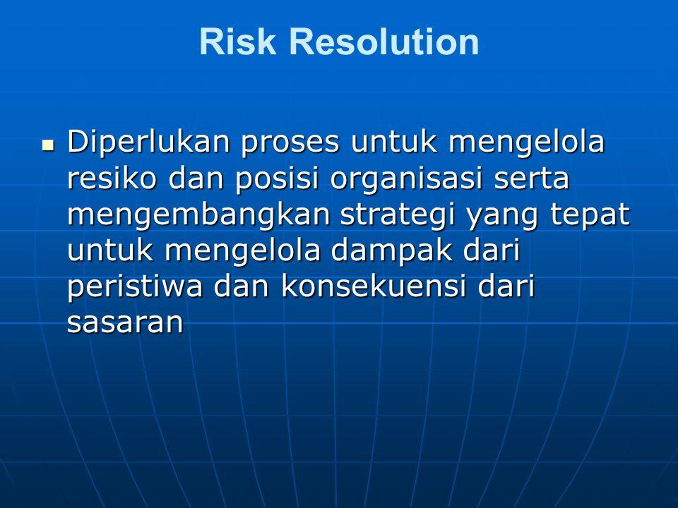 Risk Resolution Diperlukan proses untuk mengelola resiko dan posisi organisasi serta mengembangkan strategi yang tepat untuk mengelola dampak dari peristiwa dan konsekuensi dari sasaran Diperlukan proses untuk mengelola resiko dan posisi organisasi serta mengembangkan strategi yang tepat untuk mengelola dampak dari peristiwa dan konsekuensi dari sasaran
