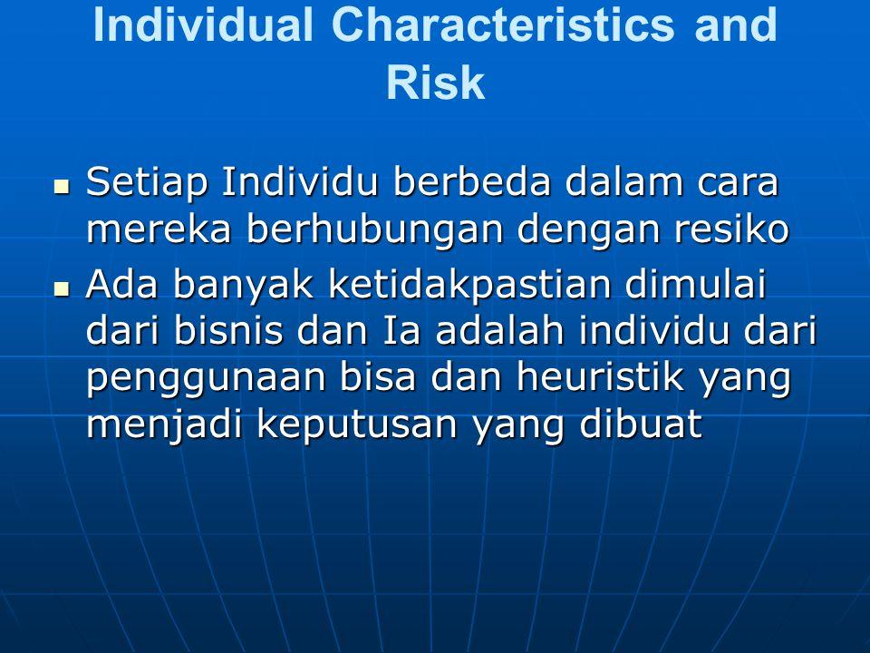 Individual Characteristics and Risk Setiap Individu berbeda dalam cara mereka berhubungan dengan resiko Setiap Individu berbeda dalam cara mereka berh