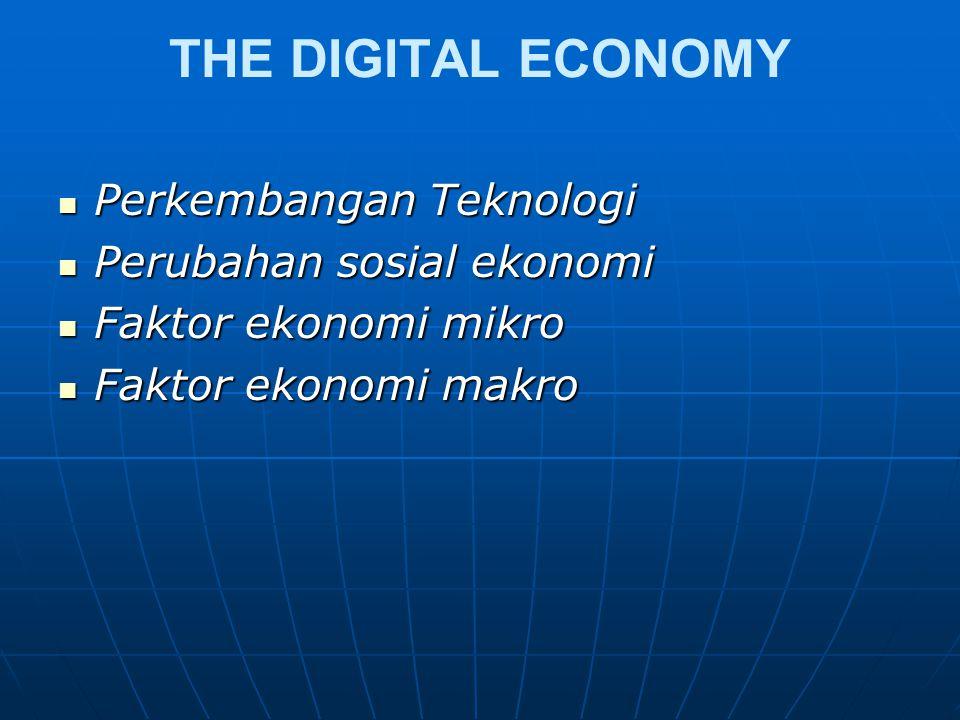 THE DIGITAL ECONOMY Perkembangan Teknologi Perkembangan Teknologi Perubahan sosial ekonomi Perubahan sosial ekonomi Faktor ekonomi mikro Faktor ekonomi mikro Faktor ekonomi makro Faktor ekonomi makro