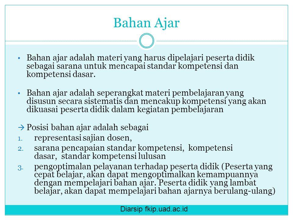 Diarsip fkip.uad.ac.id Bahan Ajar Bahan ajar adalah materi yang harus dipelajari peserta didik sebagai sarana untuk mencapai standar kompetensi dan kompetensi dasar.