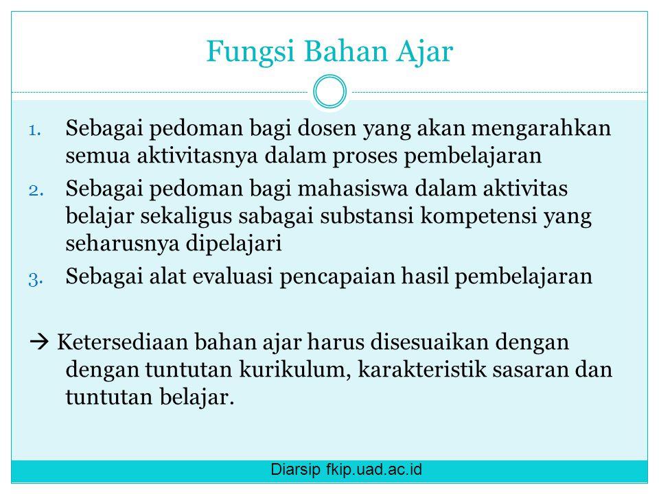 Diarsip fkip.uad.ac.id Fungsi Bahan Ajar 1. Sebagai pedoman bagi dosen yang akan mengarahkan semua aktivitasnya dalam proses pembelajaran 2. Sebagai p