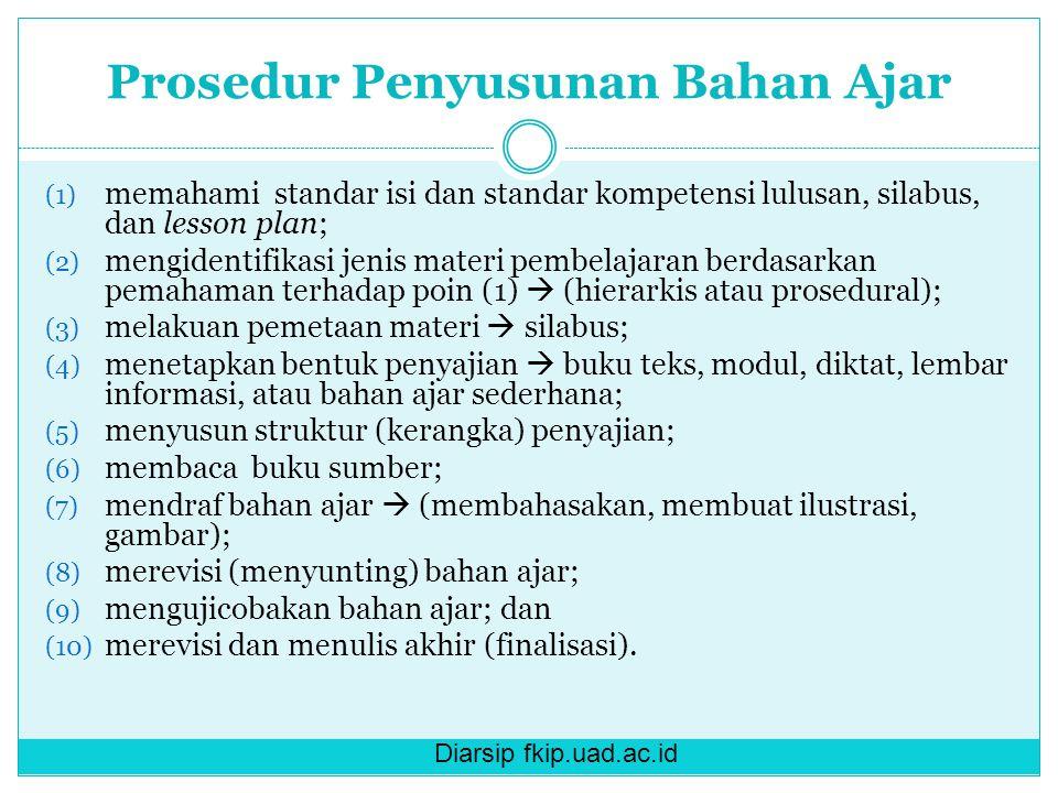 Diarsip fkip.uad.ac.id Prosedur Penyusunan Bahan Ajar (1) memahami standar isi dan standar kompetensi lulusan, silabus, dan lesson plan; (2) mengident