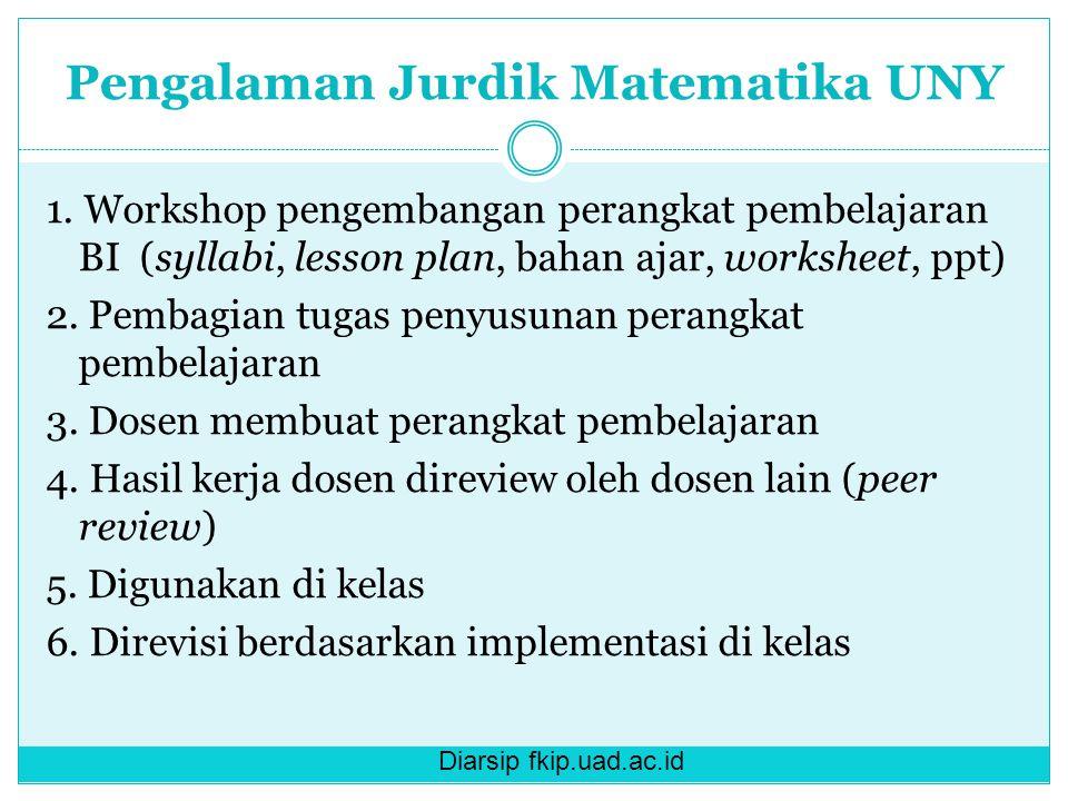 Diarsip fkip.uad.ac.id Pengalaman Jurdik Matematika UNY 1. Workshop pengembangan perangkat pembelajaran BI (syllabi, lesson plan, bahan ajar, workshee
