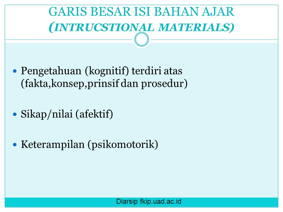 Diarsip fkip.uad.ac.id GARIS BESAR ISI BAHAN AJAR ( INTRUCSTIONAL MATERIALS) Pengetahuan (kognitif) terdiri atas (fakta,konsep,prinsif dan prosedur) S