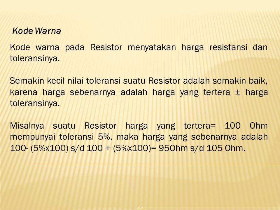Kode warna pada Resistor menyatakan harga resistansi dan toleransinya. Semakin kecil nilai toleransi suatu Resistor adalah semakin baik, karena harga