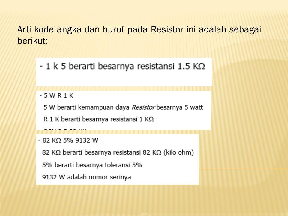 Arti kode angka dan huruf pada Resistor ini adalah sebagai berikut: