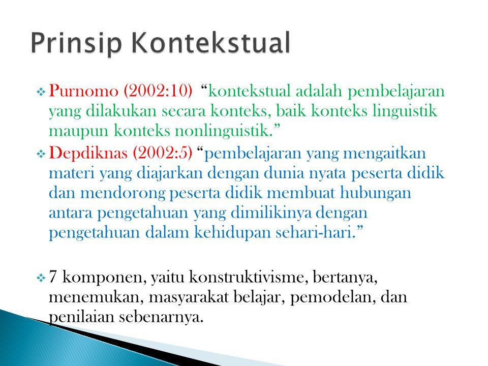  Purnomo (2002:10) kontekstual adalah pembelajaran yang dilakukan secara konteks, baik konteks linguistik maupun konteks nonlinguistik.  Depdiknas (2002:5) pembelajaran yang mengaitkan materi yang diajarkan dengan dunia nyata peserta didik dan mendorong peserta didik membuat hubungan antara pengetahuan yang dimilikinya dengan pengetahuan dalam kehidupan sehari-hari.  7 komponen, yaitu konstruktivisme, bertanya, menemukan, masyarakat belajar, pemodelan, dan penilaian sebenarnya.