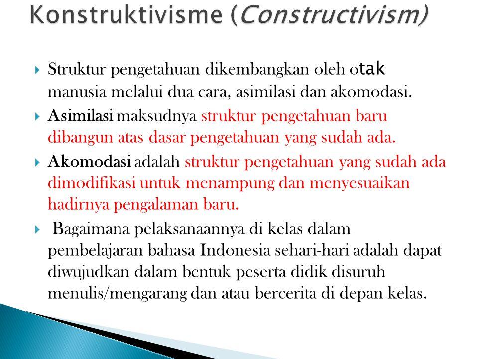  Struktur pengetahuan dikembangkan oleh o tak manusia melalui dua cara, asimilasi dan akomodasi.