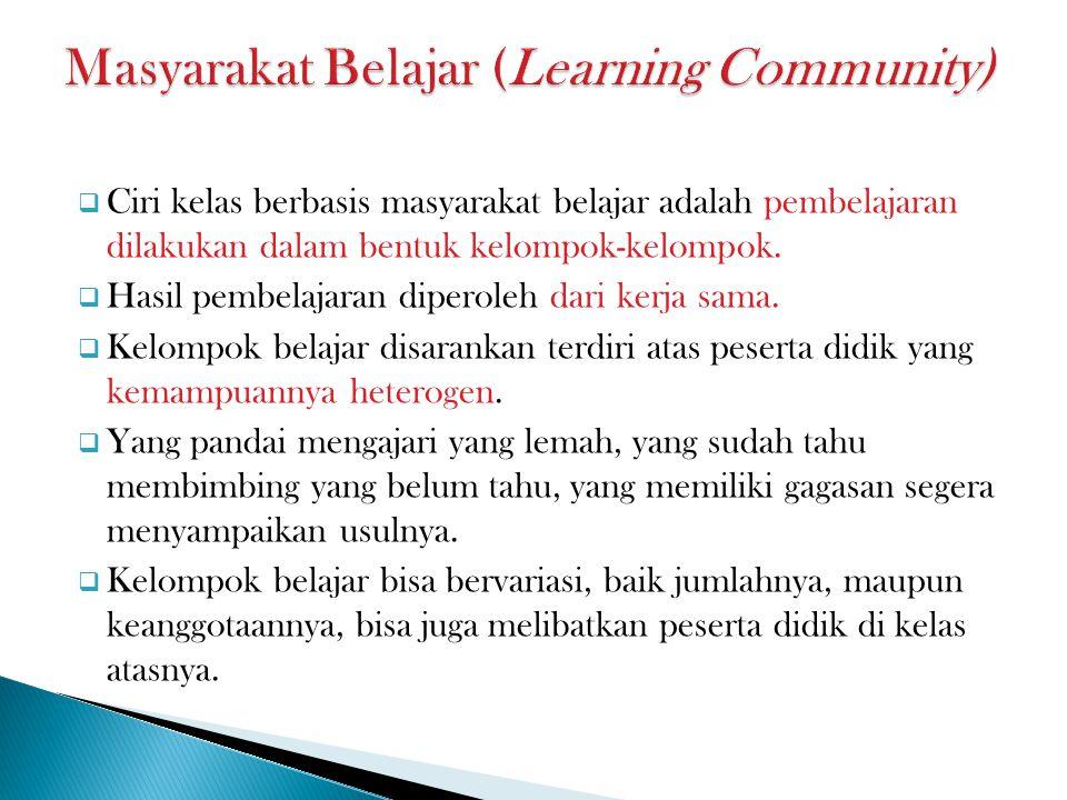  Ciri kelas berbasis masyarakat belajar adalah pembelajaran dilakukan dalam bentuk kelompok-kelompok.
