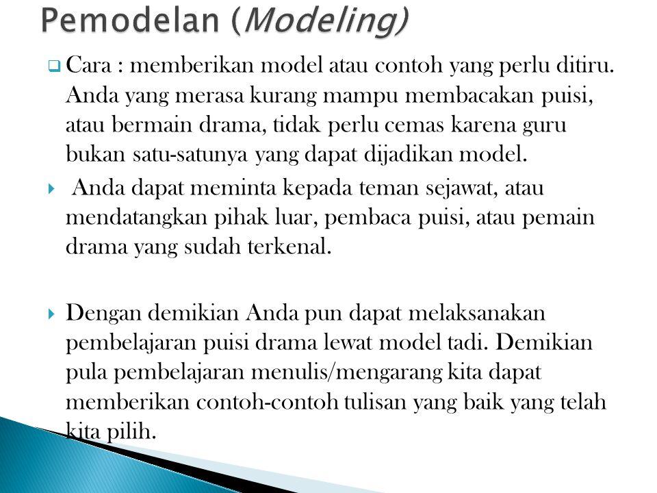  Cara : memberikan model atau contoh yang perlu ditiru.
