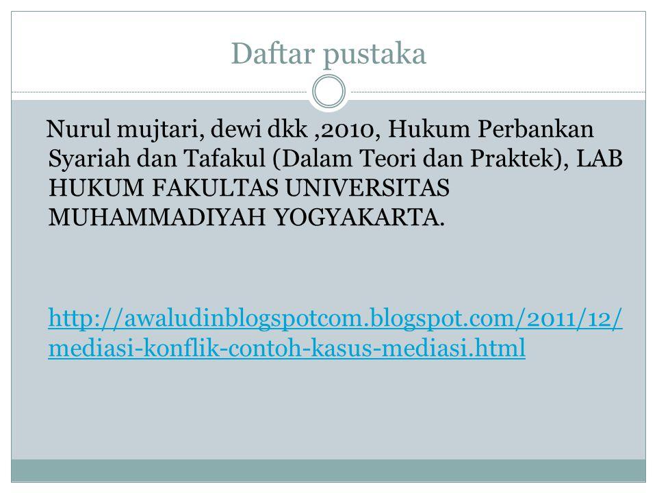 Daftar pustaka Nurul mujtari, dewi dkk,2010, Hukum Perbankan Syariah dan Tafakul (Dalam Teori dan Praktek), LAB HUKUM FAKULTAS UNIVERSITAS MUHAMMADIYAH YOGYAKARTA.