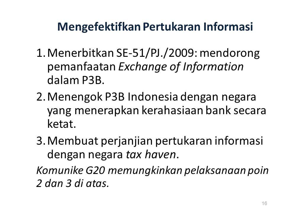 Mengefektifkan Pertukaran Informasi 1.Menerbitkan SE-51/PJ./2009: mendorong pemanfaatan Exchange of Information dalam P3B.