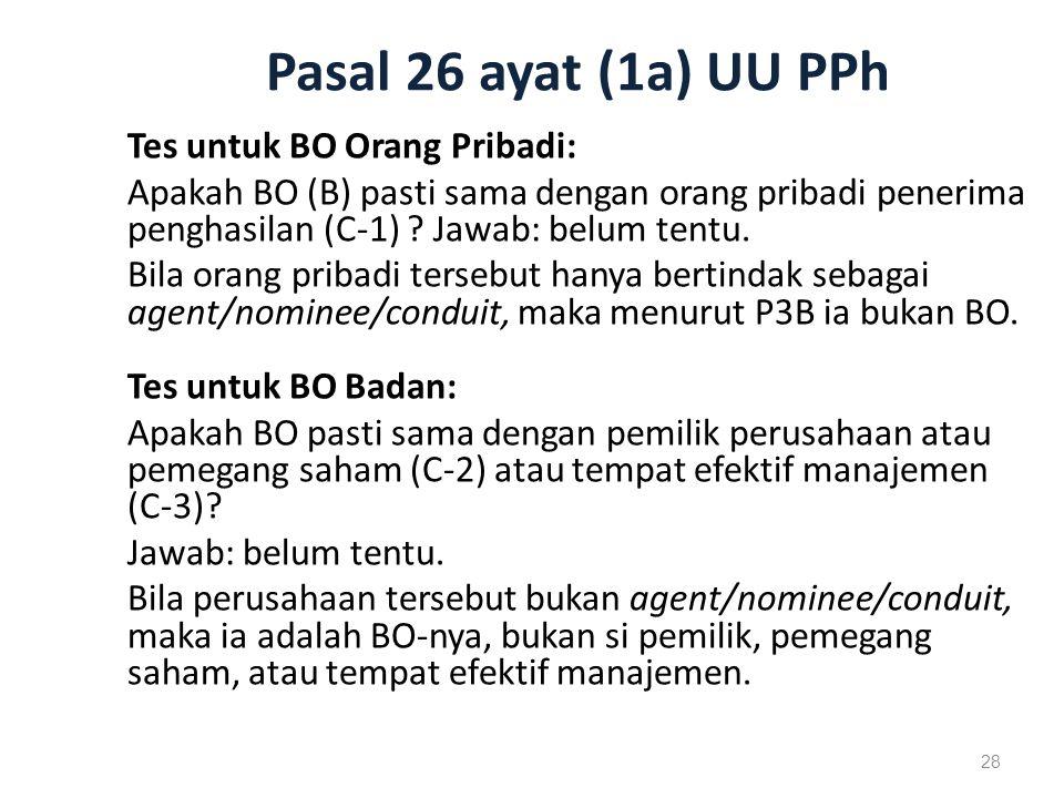 Pasal 26 ayat (1a) UU PPh Tes untuk BO Orang Pribadi: Apakah BO (B) pasti sama dengan orang pribadi penerima penghasilan (C-1) .