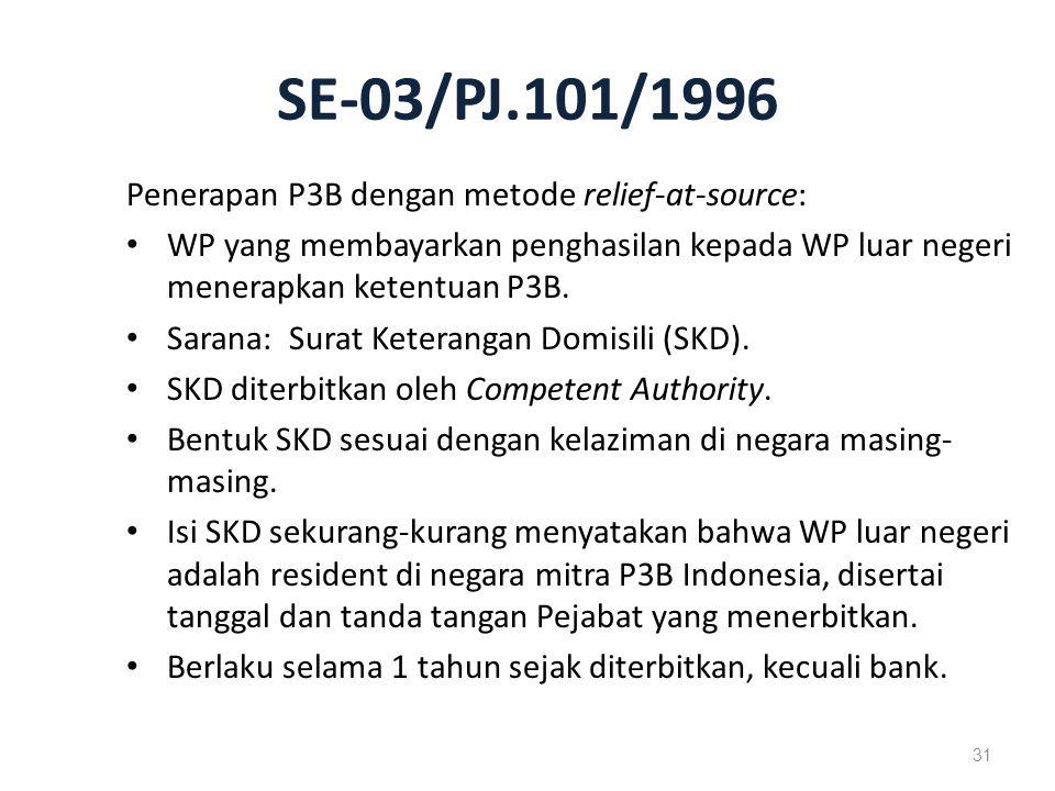 SE-03/PJ.101/1996 Penerapan P3B dengan metode relief-at-source: WP yang membayarkan penghasilan kepada WP luar negeri menerapkan ketentuan P3B.