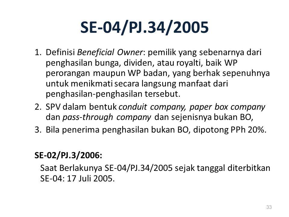 SE-04/PJ.34/2005 1.Definisi Beneficial Owner: pemilik yang sebenarnya dari penghasilan bunga, dividen, atau royalti, baik WP perorangan maupun WP badan, yang berhak sepenuhnya untuk menikmati secara langsung manfaat dari penghasilan-penghasilan tersebut.
