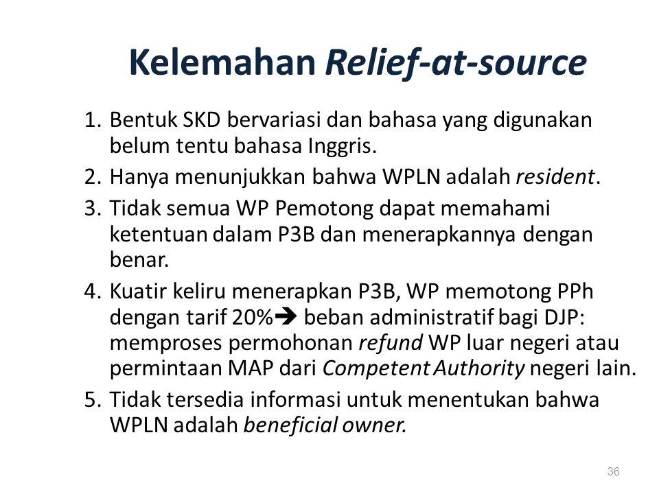 Kelemahan Relief-at-source 1.Bentuk SKD bervariasi dan bahasa yang digunakan belum tentu bahasa Inggris.