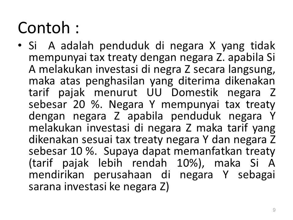 Contoh : Si A adalah penduduk di negara X yang tidak mempunyai tax treaty dengan negara Z.