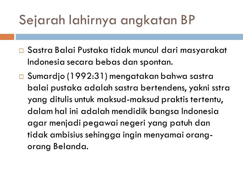 Sejarah lahirnya angkatan BP  Sastra Balai Pustaka tidak muncul dari masyarakat Indonesia secara bebas dan spontan.