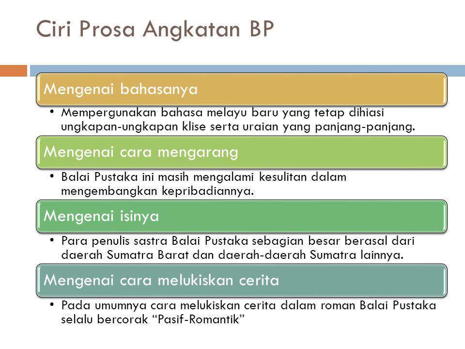 Ciri Prosa Angkatan BP Mengenai bahasanya Mempergunakan bahasa melayu baru yang tetap dihiasi ungkapan-ungkapan klise serta uraian yang panjang-panjang.