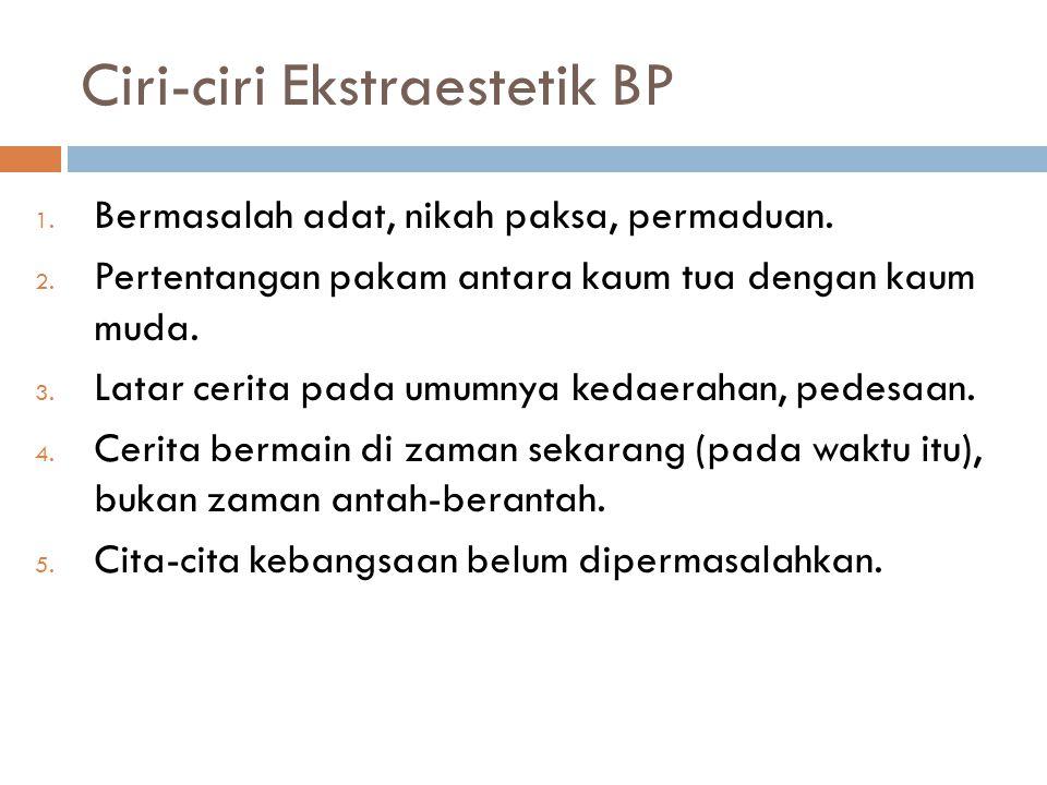 Ciri-ciri Ekstraestetik BP 1.Bermasalah adat, nikah paksa, permaduan.