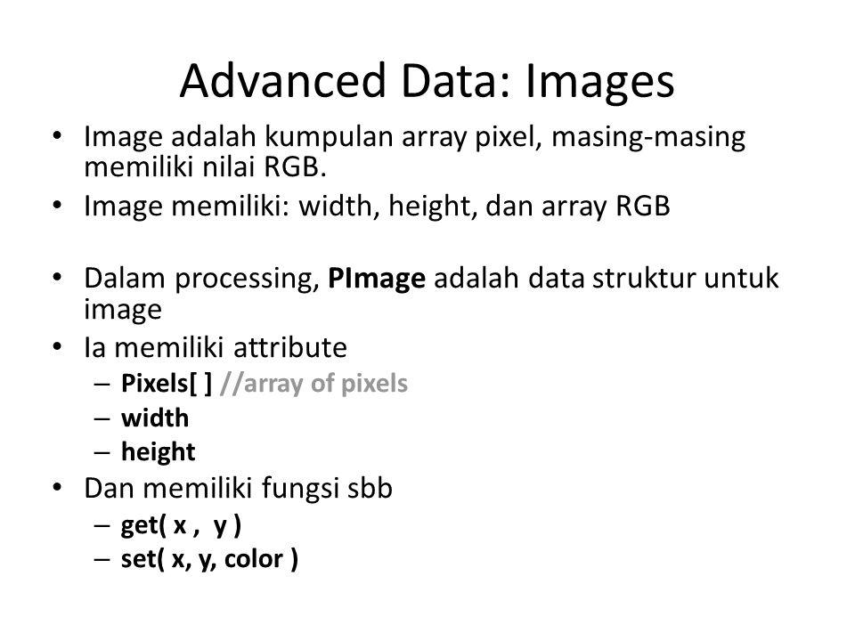 Advanced Data: Images Image adalah kumpulan array pixel, masing-masing memiliki nilai RGB. Image memiliki: width, height, dan array RGB Dalam processi