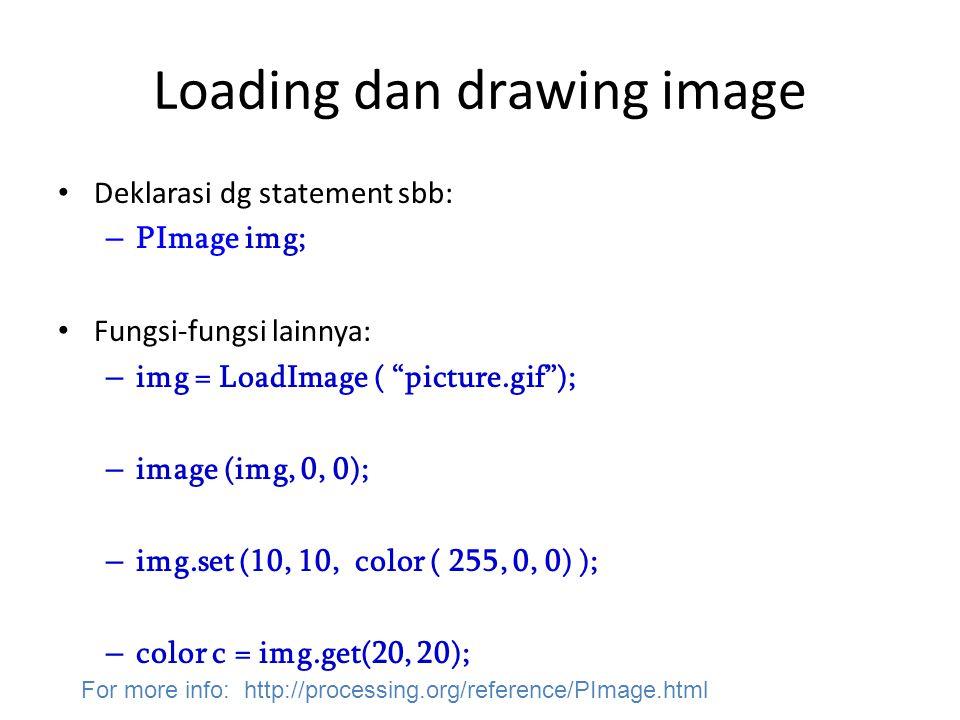 "Loading dan drawing image Deklarasi dg statement sbb: – PImage img; Fungsi-fungsi lainnya: – img = LoadImage ( ""picture.gif""); – image (img, 0, 0); –"