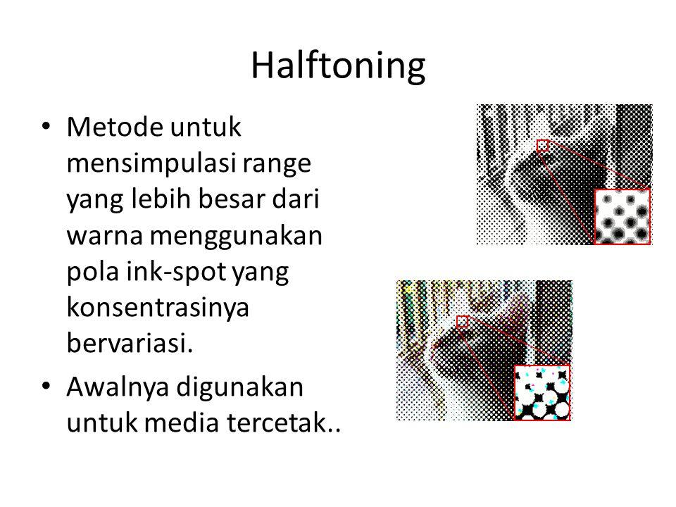 Halftoning Metode untuk mensimpulasi range yang lebih besar dari warna menggunakan pola ink-spot yang konsentrasinya bervariasi.
