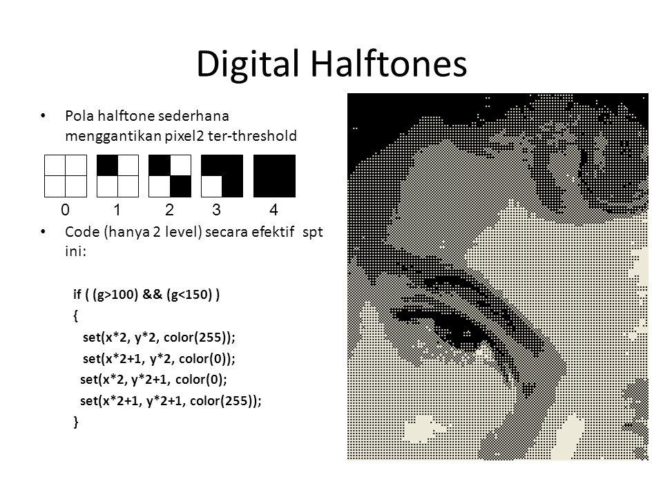 Digital Halftones Pola halftone sederhana menggantikan pixel2 ter-threshold Code (hanya 2 level) secara efektif spt ini: if ( (g>100) && (g<150) ) { set(x*2, y*2, color(255)); set(x*2+1, y*2, color(0)); set(x*2, y*2+1, color(0); set(x*2+1, y*2+1, color(255)); } 01234