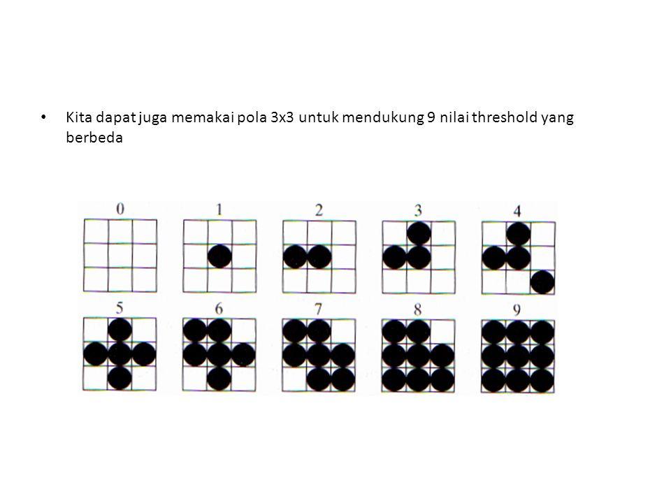 Kita dapat juga memakai pola 3x3 untuk mendukung 9 nilai threshold yang berbeda