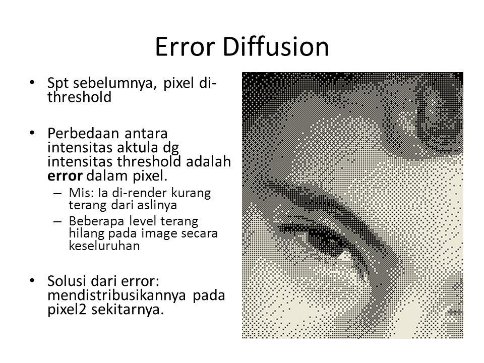 Error Diffusion Spt sebelumnya, pixel di- threshold Perbedaan antara intensitas aktula dg intensitas threshold adalah error dalam pixel. – Mis: Ia di-
