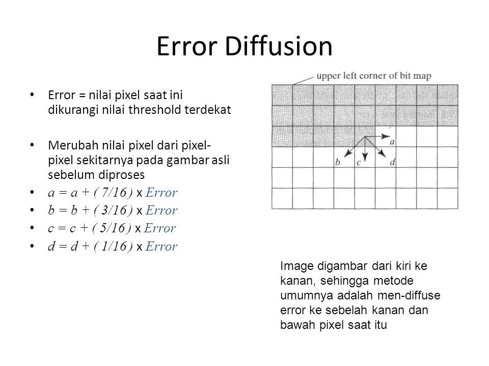 Error Diffusion Error = nilai pixel saat ini dikurangi nilai threshold terdekat Merubah nilai pixel dari pixel- pixel sekitarnya pada gambar asli sebelum diproses a = a + ( 7/16 ) x Error b = b + ( 3/16 ) x Error c = c + ( 5/16 ) x Error d = d + ( 1/16 ) x Error Image digambar dari kiri ke kanan, sehingga metode umumnya adalah men-diffuse error ke sebelah kanan dan bawah pixel saat itu