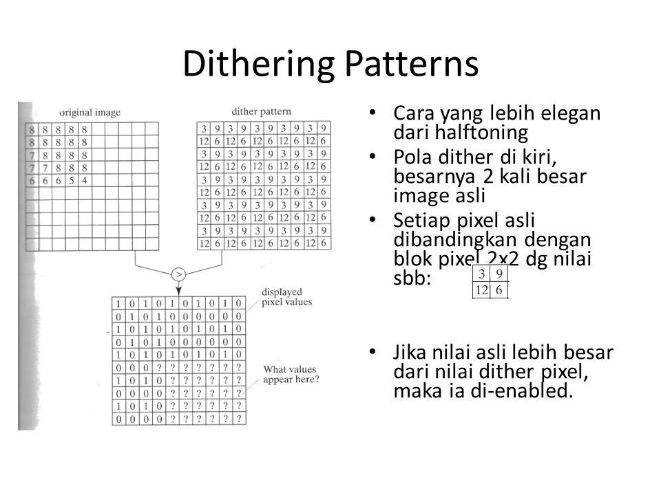 Dithering Patterns Cara yang lebih elegan dari halftoning Pola dither di kiri, besarnya 2 kali besar image asli Setiap pixel asli dibandingkan dengan blok pixel 2x2 dg nilai sbb: Jika nilai asli lebih besar dari nilai dither pixel, maka ia di-enabled.