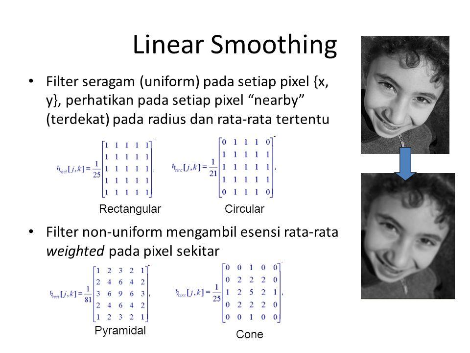 Linear Smoothing Filter seragam (uniform) pada setiap pixel {x, y}, perhatikan pada setiap pixel nearby (terdekat) pada radius dan rata-rata tertentu Filter non-uniform mengambil esensi rata-rata weighted pada pixel sekitar RectangularCircular Pyramidal Cone