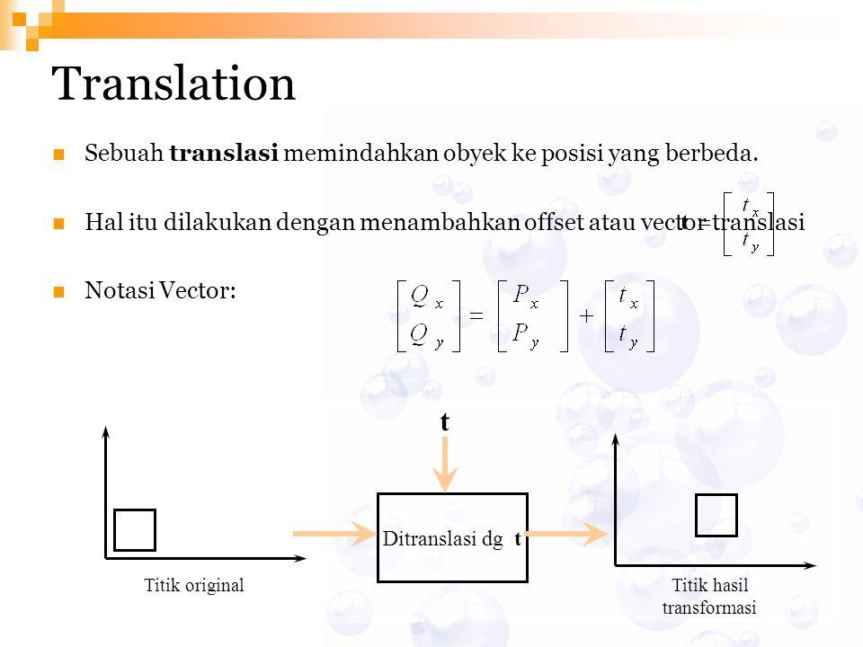 Translation Sebuah translasi memindahkan obyek ke posisi yang berbeda. Hal itu dilakukan dengan menambahkan offset atau vector translasi Notasi Vector