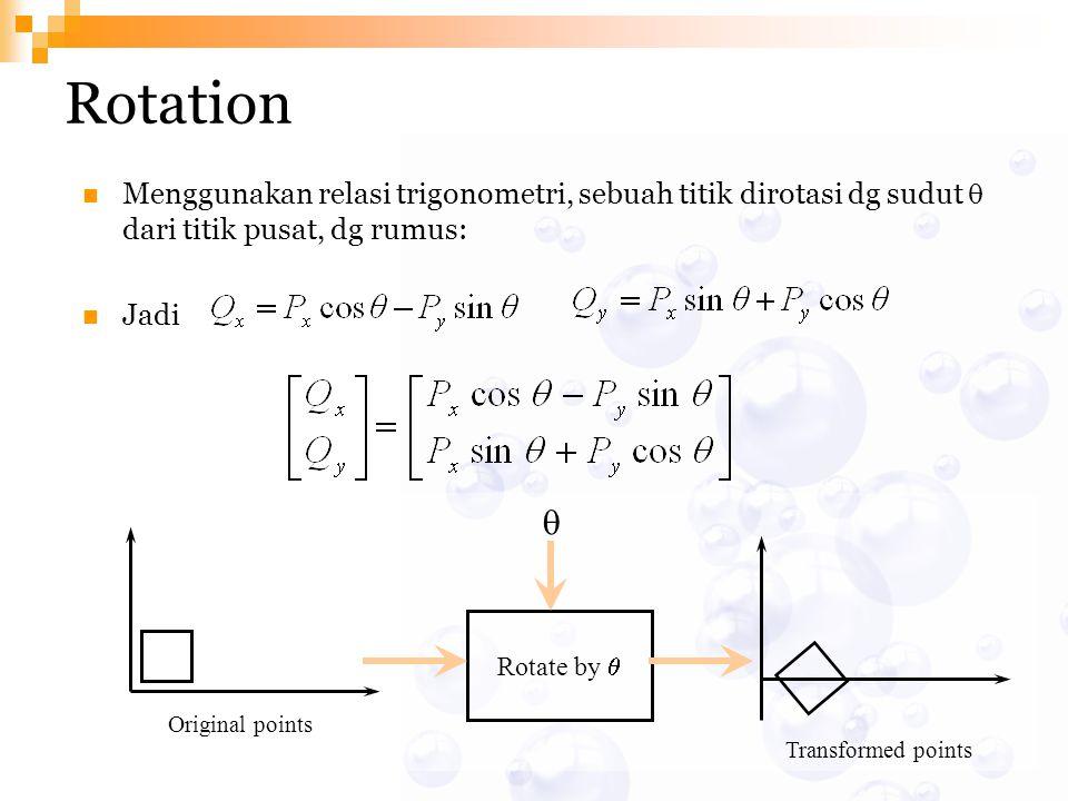 Rotation Menggunakan relasi trigonometri, sebuah titik dirotasi dg sudut  dari titik pusat, dg rumus: Jadi Original points Transformed points Rotate