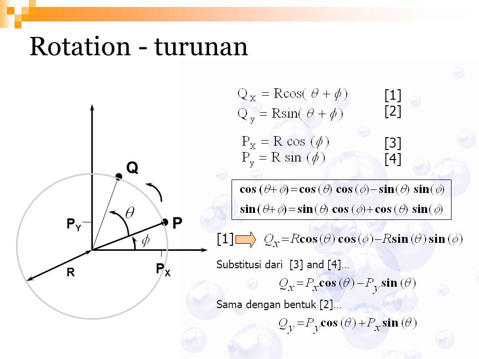 Rotation - turunan P Q R PXPX PYPY [1] [2] [3] [4] [1] Substitusi dari [3] and [4]… Sama dengan bentuk [2]…
