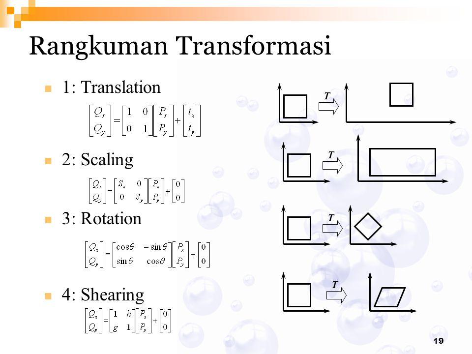 19 1: Translation 2: Scaling 3: Rotation 4: Shearing Rangkuman Transformasi T T T T