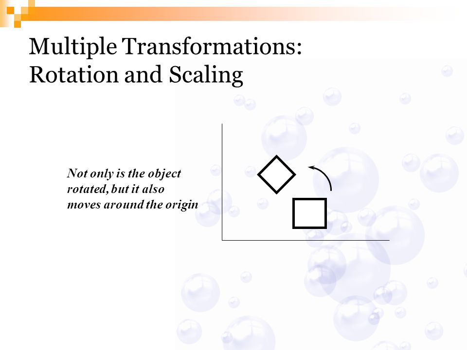 Multiple Transformations: Rotation and Scaling Not only is the object rotated, but it also moves around the origin