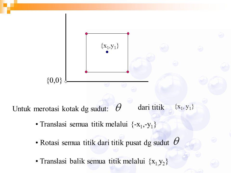 {x 1,y 1 } {0,0} Untuk merotasi kotak dg sudut: dari titik {x 1, y 1 } Translasi semua titik melalui {-x 1,-y 1 } Rotasi semua titik dari titik pusat