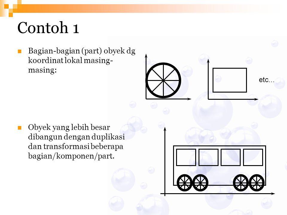 etc... Contoh 1 Bagian-bagian (part) obyek dg koordinat lokal masing- masing: Obyek yang lebih besar dibangun dengan duplikasi dan transformasi bebera