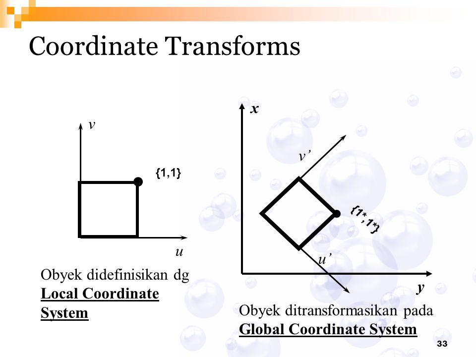 33 Coordinate Transforms {1*,1*} v' u' {1,1} v u x y Obyek didefinisikan dg Local Coordinate System Obyek ditransformasikan pada Global Coordinate Sys