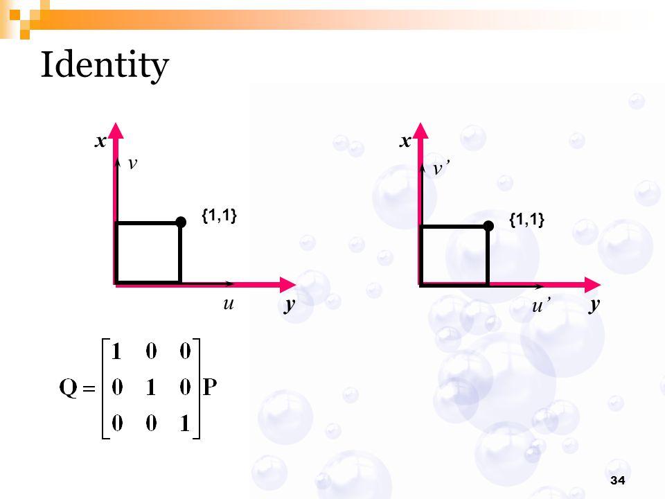 34 x y x y Identity {1,1} v u v' u'