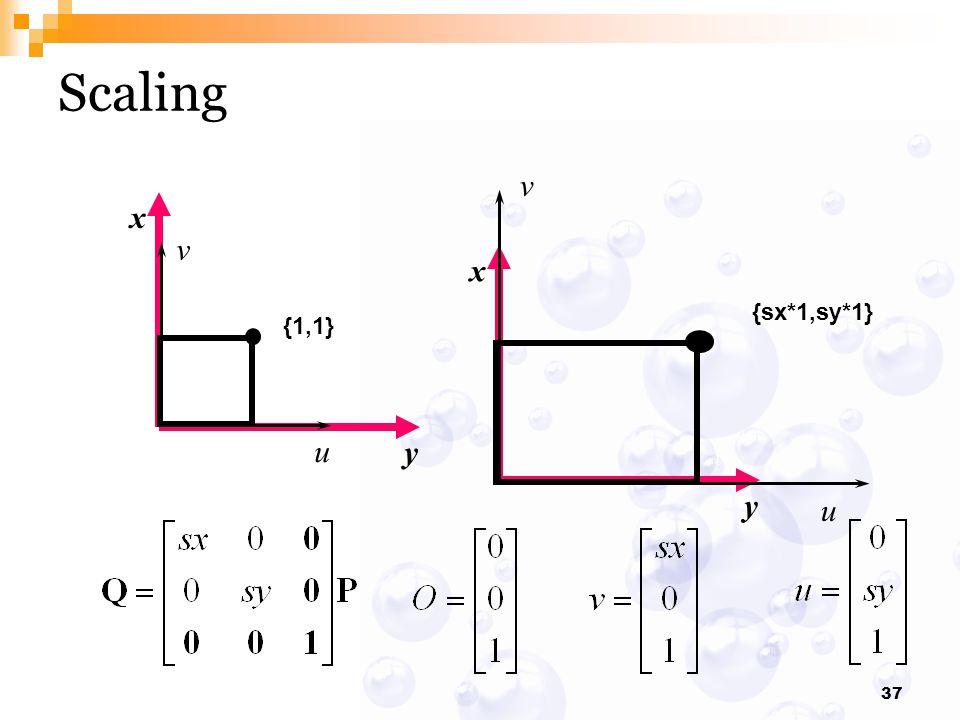 37 x y Scaling x y {1,1} v u {sx*1,sy*1} v u