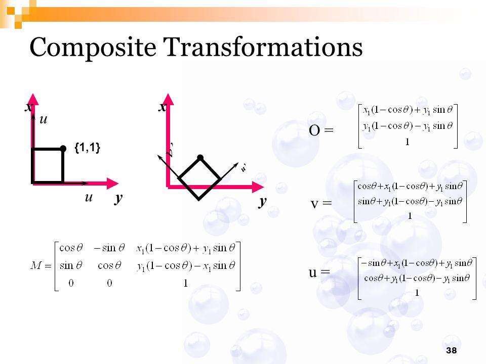 38 Composite Transformations x y x y {1,1} u u v' u' O = v = u =