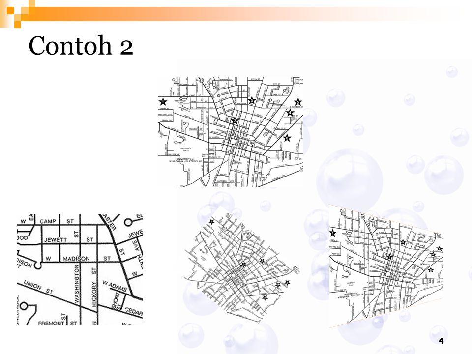{x 1,y 1 } {0,0} Untuk merotasi kotak dg sudut: dari titik {x 1, y 1 } Translasi semua titik melalui {-x 1,-y 1 } Rotasi semua titik dari titik pusat dg sudut Translasi balik semua titik melalui {x 1, y 2 }