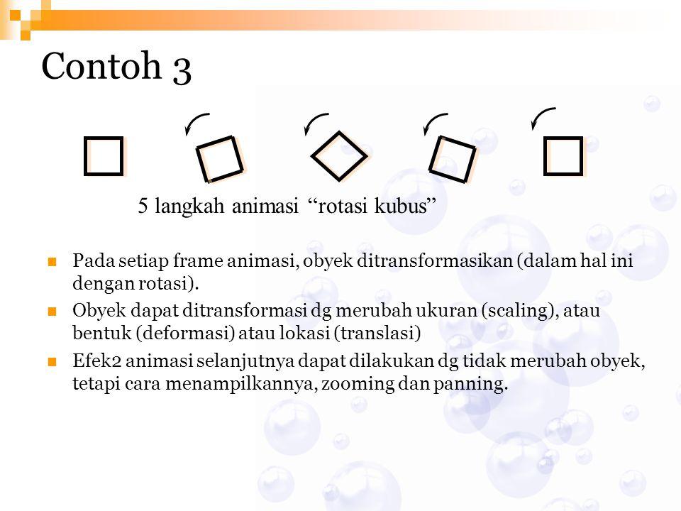 """5 langkah animasi """"rotasi kubus"""" Contoh 3 Pada setiap frame animasi, obyek ditransformasikan (dalam hal ini dengan rotasi). Obyek dapat ditransformasi"""