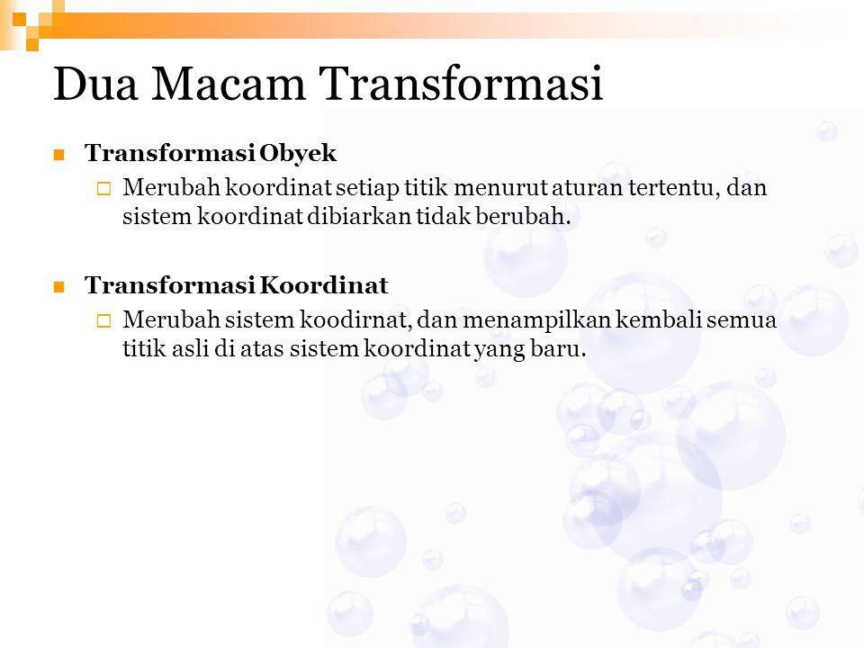 Dua Macam Transformasi Transformasi Obyek  Merubah koordinat setiap titik menurut aturan tertentu, dan sistem koordinat dibiarkan tidak berubah. Tran