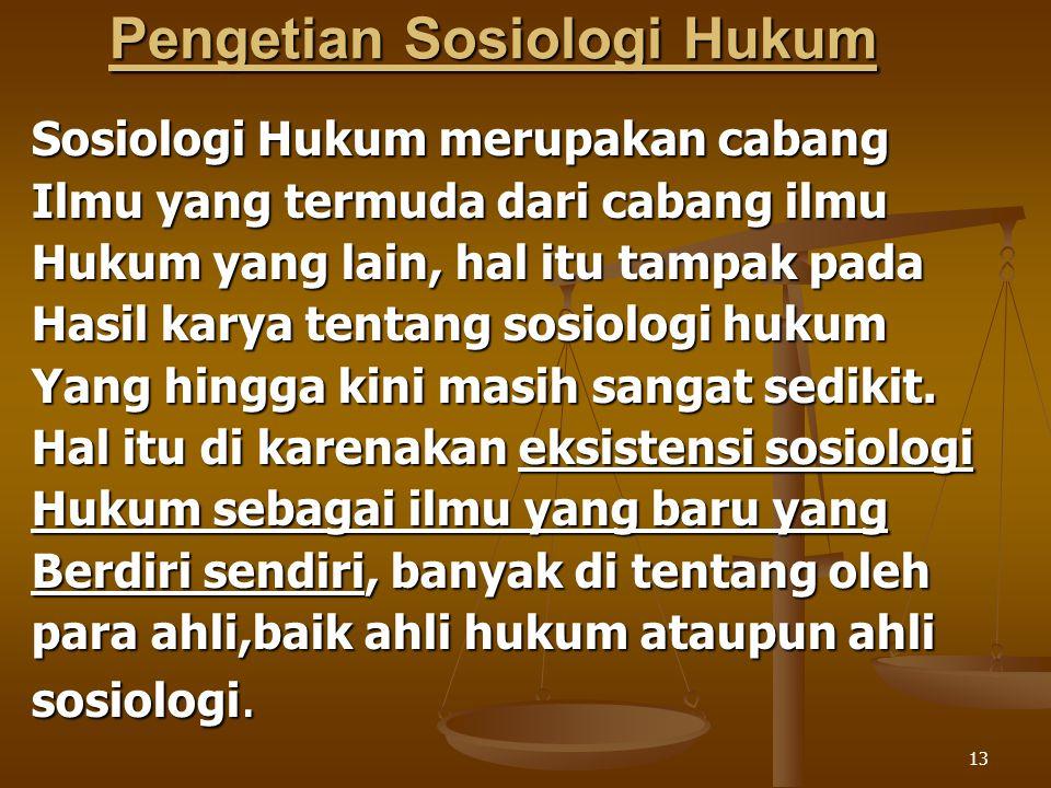 13 Pengetian Sosiologi Hukum Sosiologi Hukum merupakan cabang Ilmu yang termuda dari cabang ilmu Hukum yang lain, hal itu tampak pada Hasil karya tent